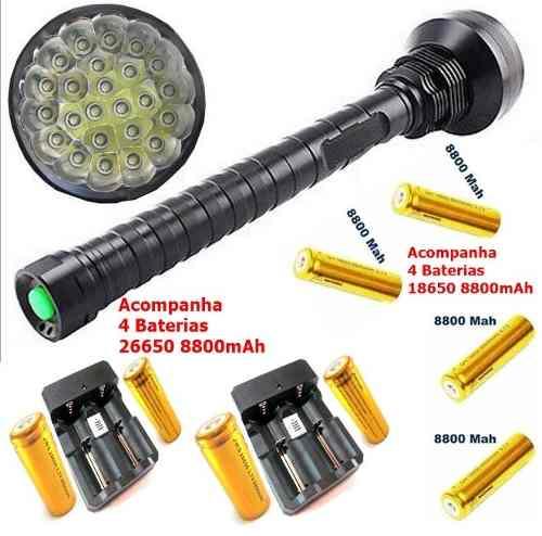 Lanterna Tática Holofote 24 Leds Xml-t6 Cree 70000 Lumens