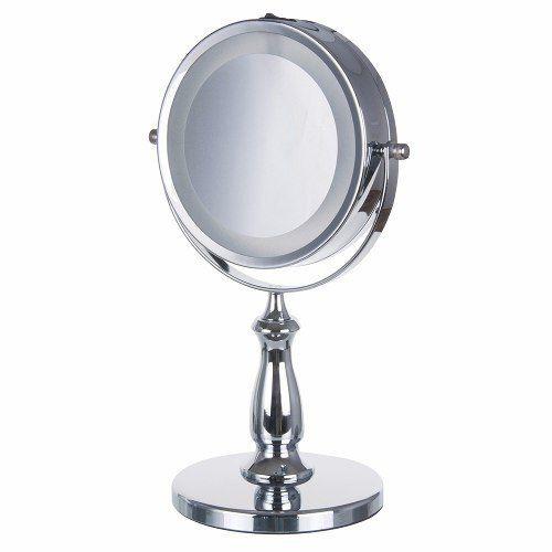 Espelho De Mesa Maquiagem Dupla Face Com Luz Led