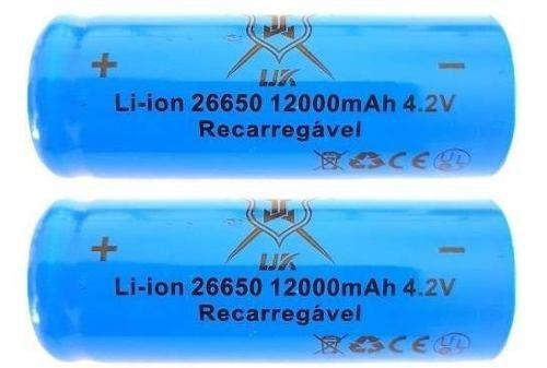 Kit Carregador  mais Duas Baterias 26650 12000 mah 4.2v Para lanterna T9