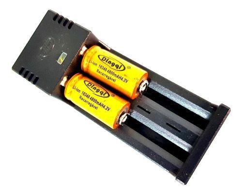 Carregador Duplo mais Bateria 16430 4.2v 4800mah Recarregável