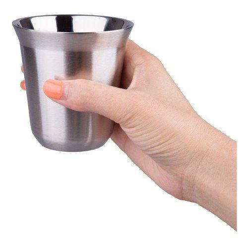 Xícara Café Espresso Longo Aço Inox Escovado mais  Agitador