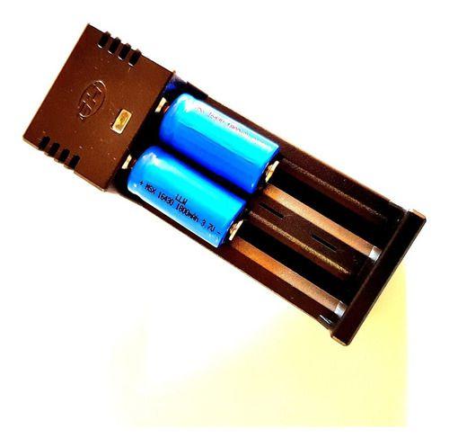 Carregador De Bateria Duplo Regulável + Bateria 16430 3.7v