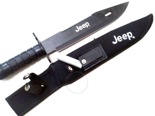 Faca Tática Sobrevivência Jeep Com Bainha De Nylon
