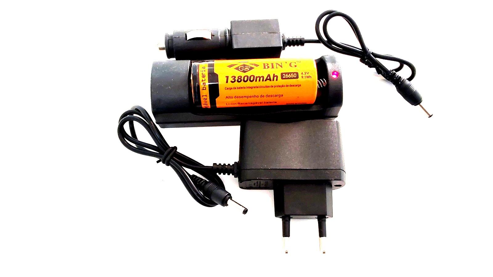Carregador + Bateria Bing 26650 13800mAh 4.2v 9.1Wh