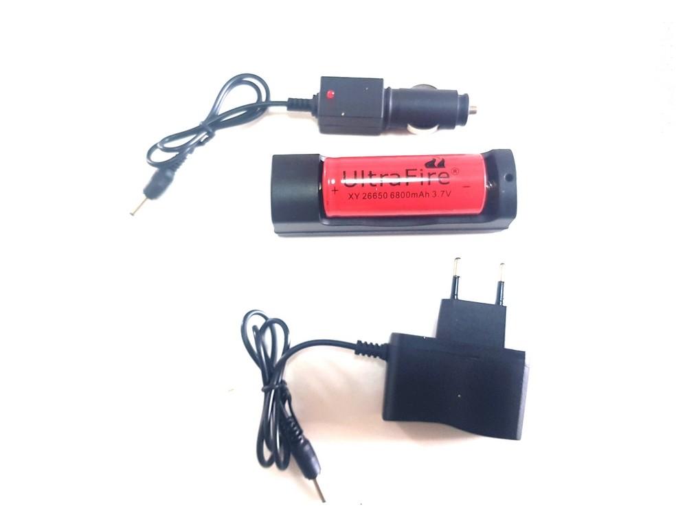 Carregador + Bateria UltraFire 26650 6800mAh 3.7v