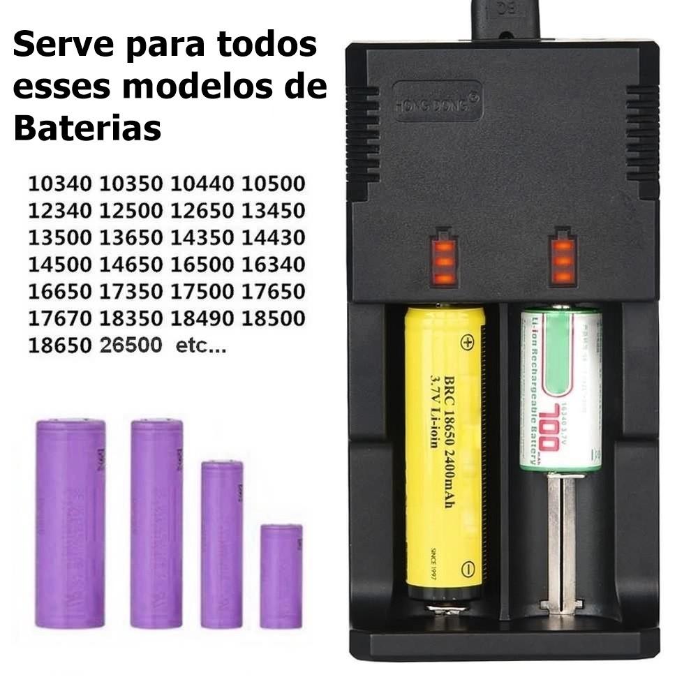 Carregador + Baterias p/Lanterna T9 26650 38000mAh 4.2v F.Vitoria