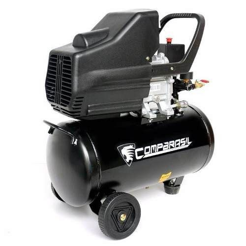 Compressor Ar Duplo 25l Pistão 2 Hp Kit5 Pintura 8 Bar 220v