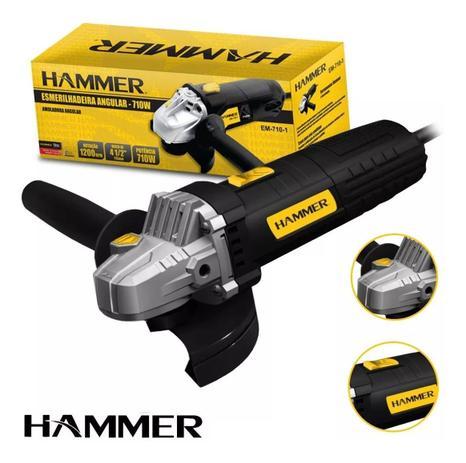 Esmerilhadeira Angular 4.12 Pol.710W Hammer EM710 +10 Discos de Corte