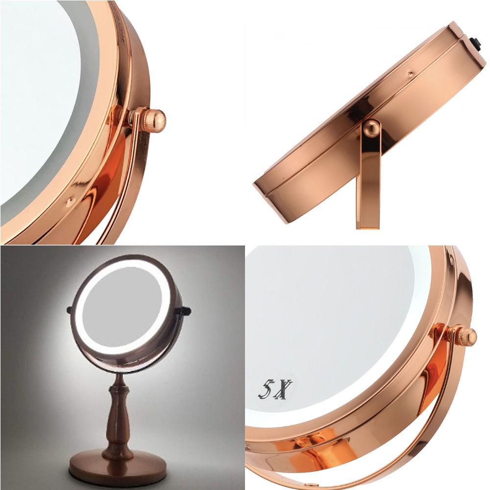 Espelho Bronze Iluminado Maquiagem Bancada Duplo 5x Banheiro
