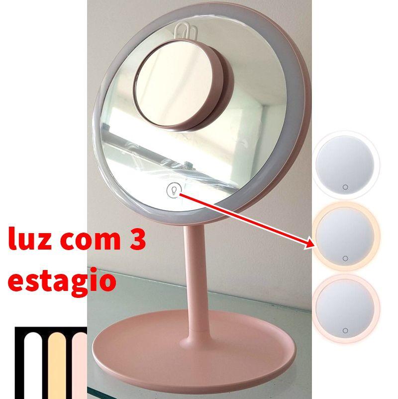 Espelho com Luz Led grande 3 estagio com Lupa 5x