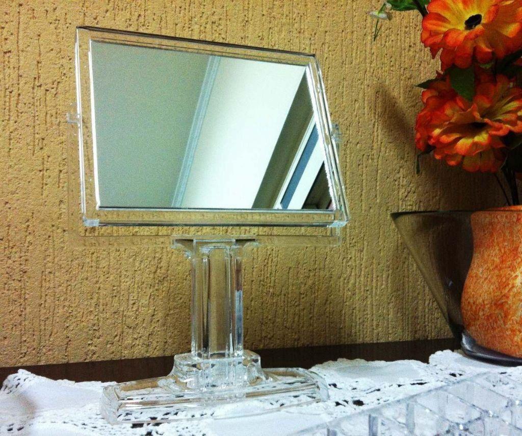 Espelho De Mesa Para Maquiagem Acrílico Dupla Face