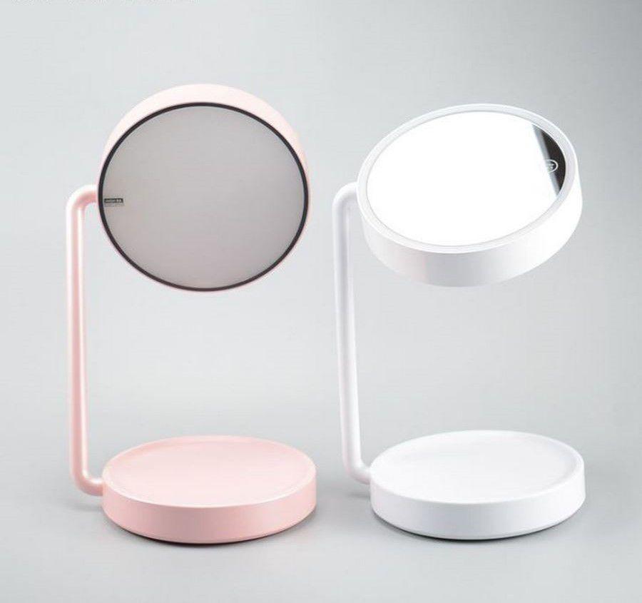 Espelho maquiagem duplo rotativo mais lado Abajur