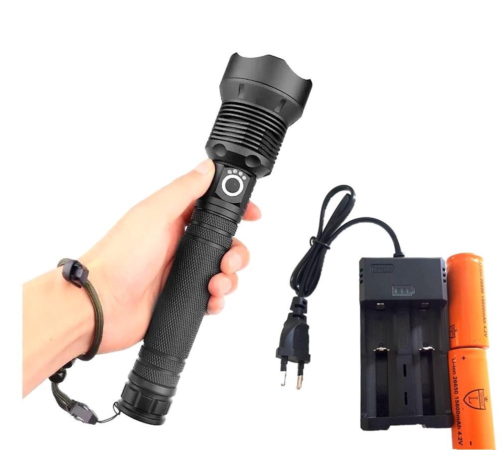 Lanterna Recarregável Led Xml Novo Led P-90 Bateria 15800mAh