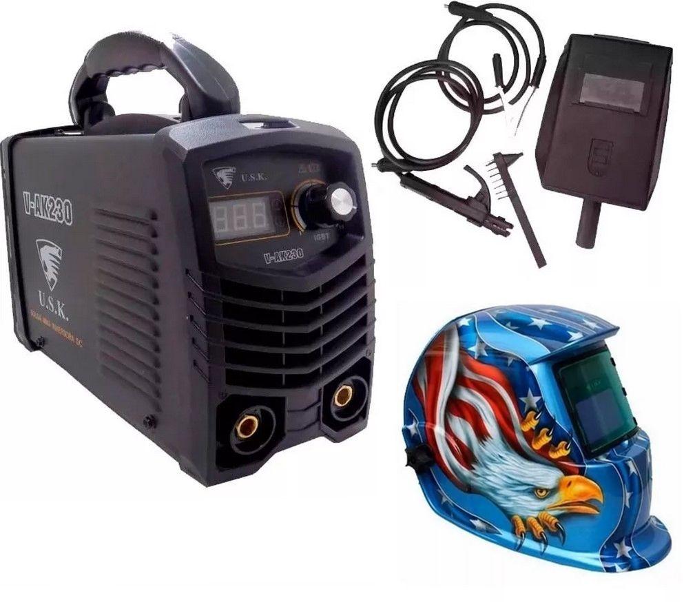 Maquina Inversora Solda Eletrodo Mma 220v Ak230 + Mascara