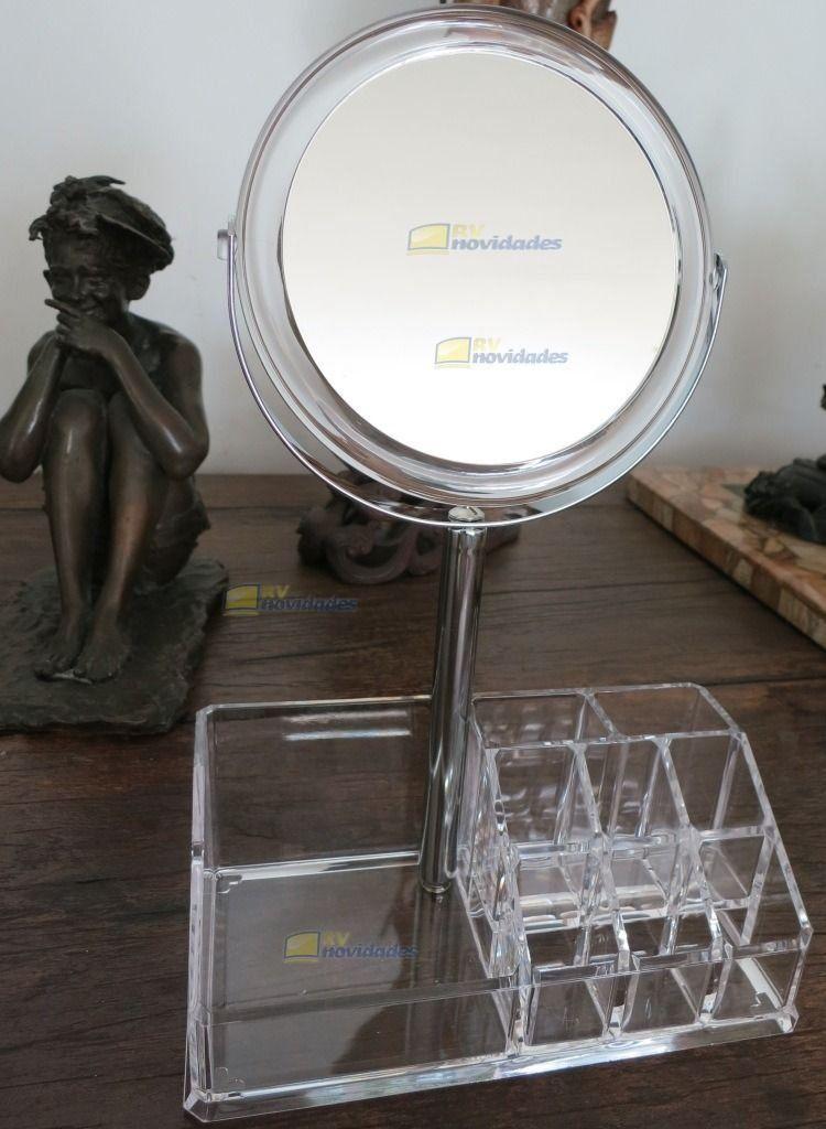 Organizador Acrílico Para Maquiagem Com Espelho