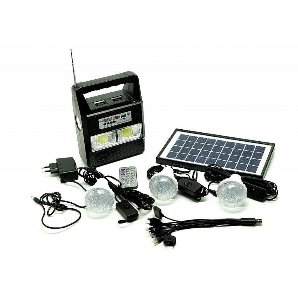 Painel Placa Solar Com Bateria Mais 3 Lampadas Led+fm+mp3