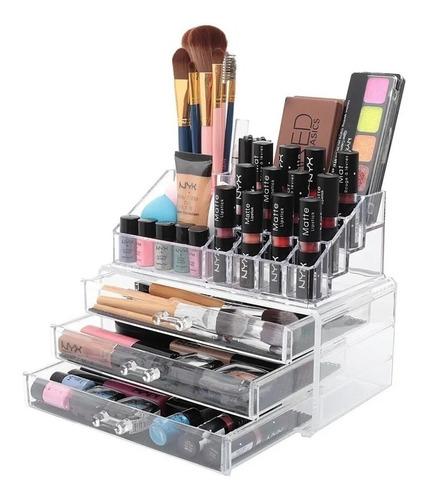 Porta Maquiagem Caixa Organizador Em Acrílico 3 Gavetas