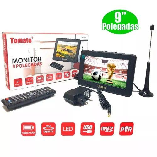 Tv Portátil Led Monitor Tv Digital 9 Polegad Micro Sd+antena