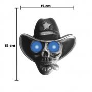 Caveira Cowboy Para Caminhão Led Azul Bivolt