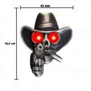 Caveira Cowboy Para Caminhão Led Bivolt Com Revolver