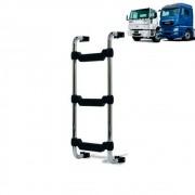 Escada Traseira para caminhão Ford Cargo até 2010 e caminhão MAN TGX até 2016 Curta Cromada