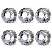 Kit 6 Rodas de Alumínio para Caminhão Alcoa Borda Larga Auto Brilho Aro 22,5 X 8,25 10 Furos