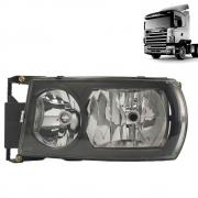 Kit Par Farol Principal Scania S5 Máscara Negra Adaptação Scania S4 + Pisca Led