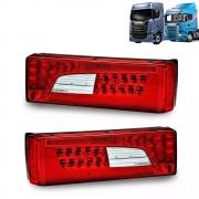 Par de Lanternas Compatíveis com Caminhão Scania Led S5 S6 S7 Streamline Após 2013 - 2241858 LD - 2241860 LE