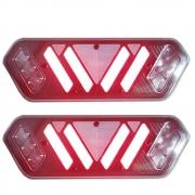 Par Lanterna Traseira LED Fumê para Caminhão 12v Universal Pisca Sequencial