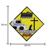 Placa Decorativa Amarela PVC Para Caminhão Mãe Obrigado por Suas Orações