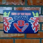 Placa Decorativa Scania King Of The Road V8 30 X 20 Cm