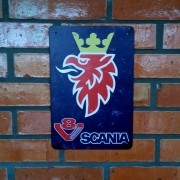 Placa Decorativa Scania V8 Vintage 20 X 30 Cm