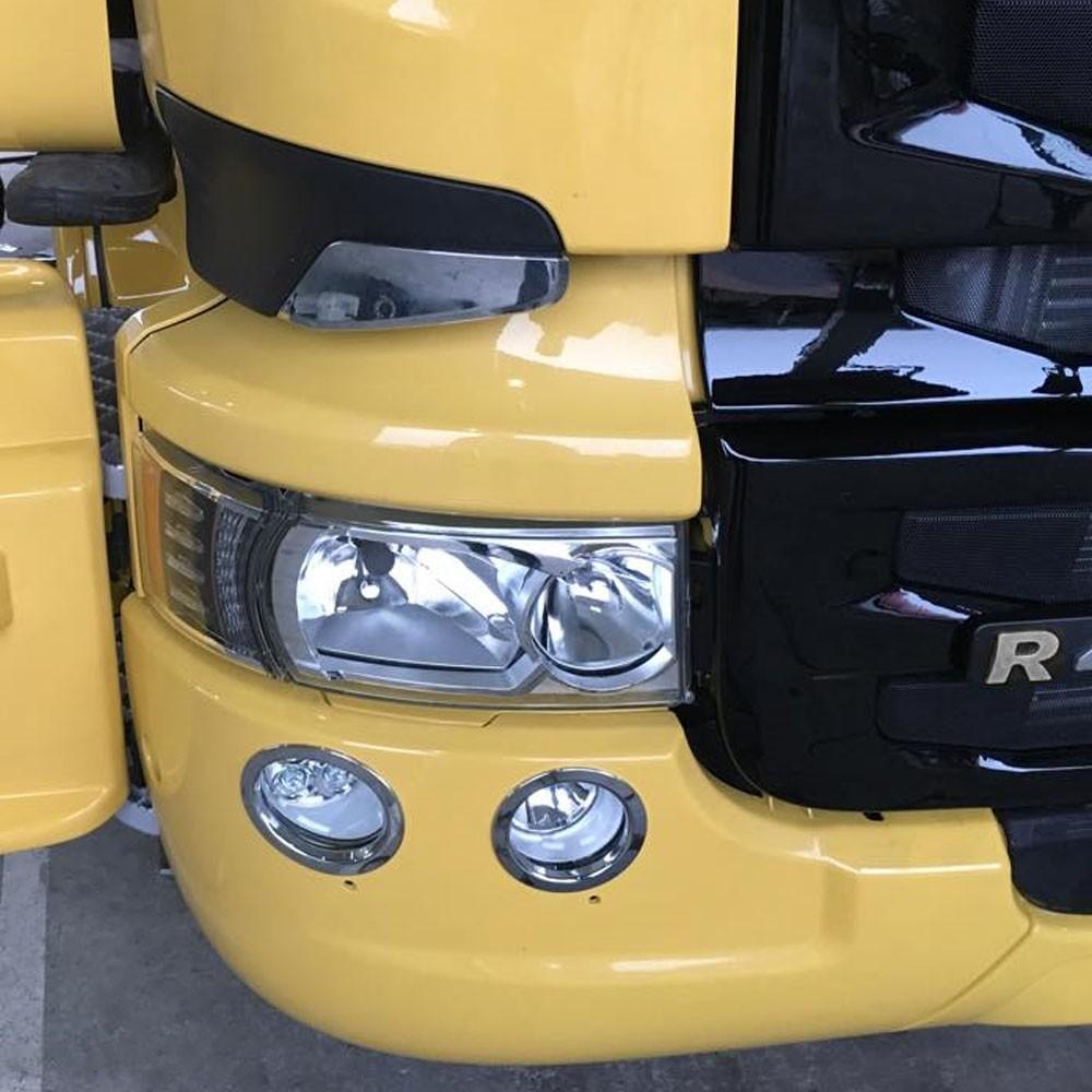 Aro De Farol Auxiliar Cromado Para Caminhão Scania Série 5 (par)