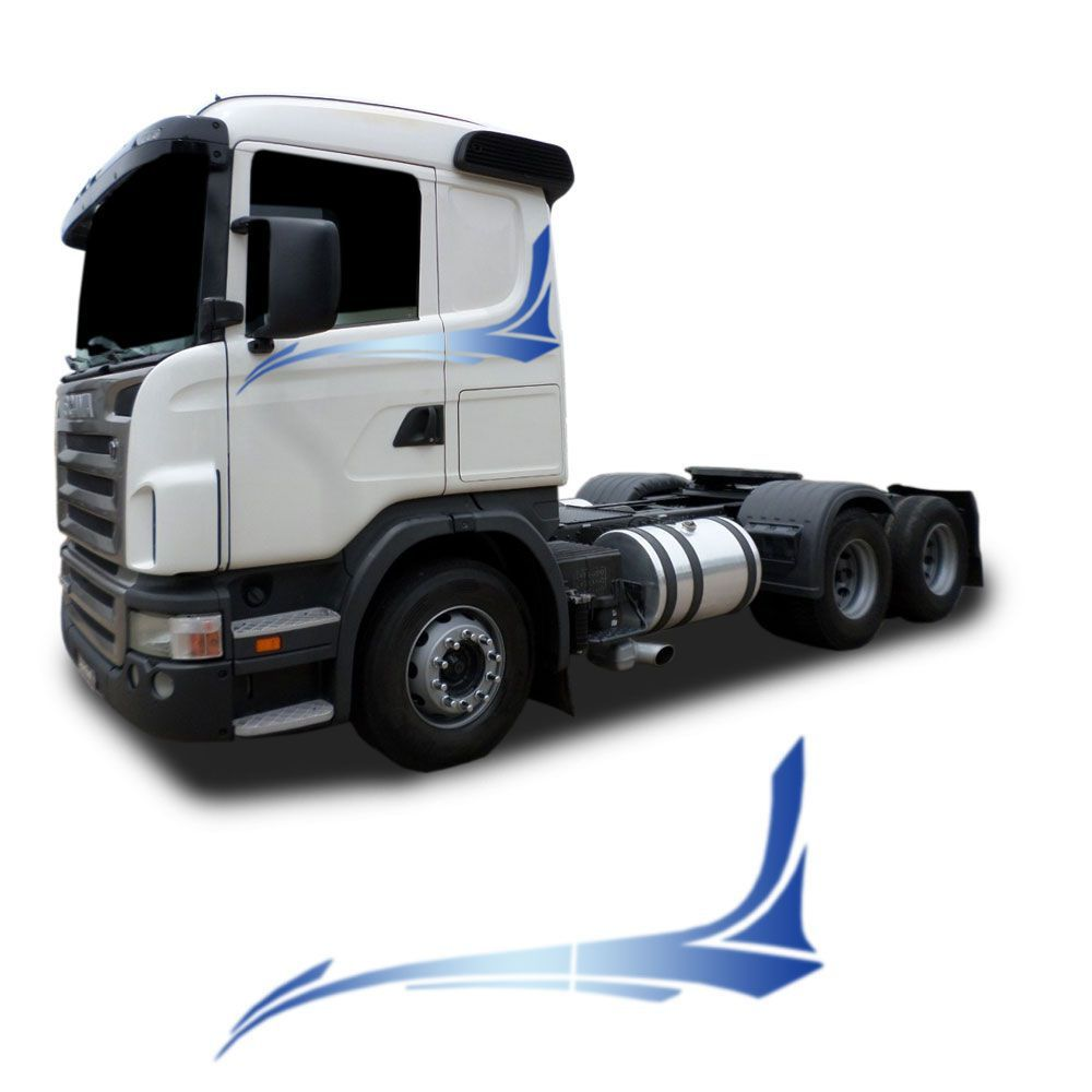 Conjunto Faixa adesiva azul Compatível com o Caminhão Scania 2008