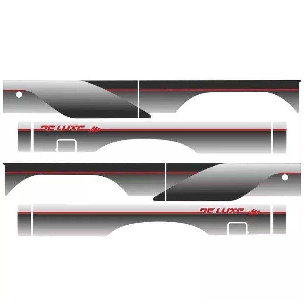 Conjunto Faixa Adesiva Prata Com Vermelho D20 Cabine Simples