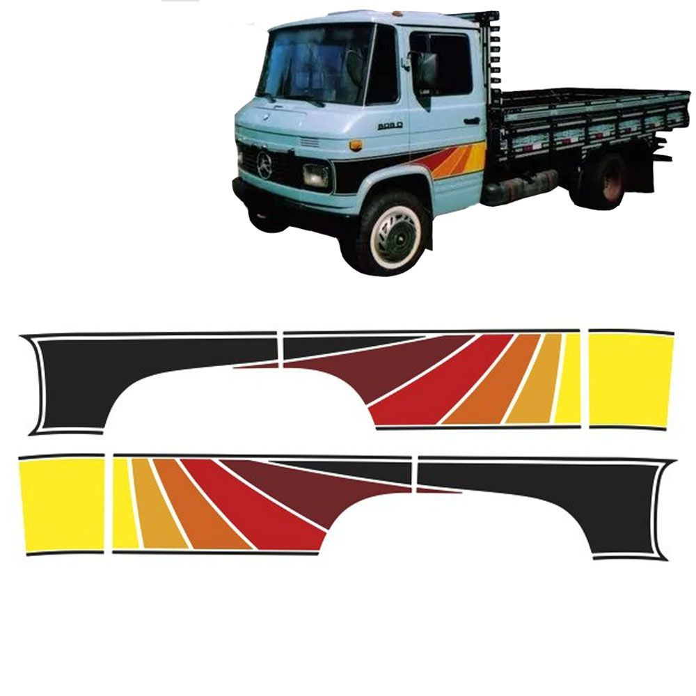 Conjunto Faixas Adesivas Vermelha Para Mercedes-benz 608