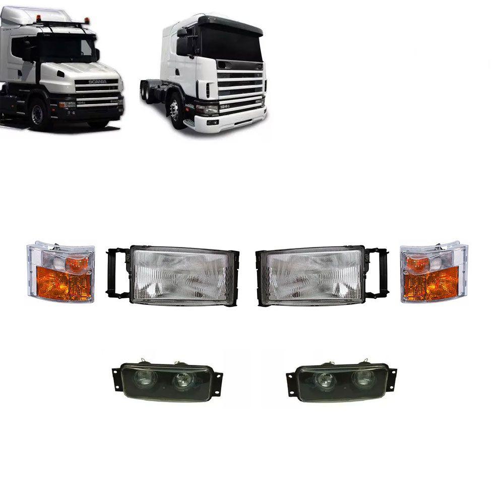 Conjunto Farol Lanterna Milha Compatível com o Caminhão Scania S4 P R G T 94 114 124