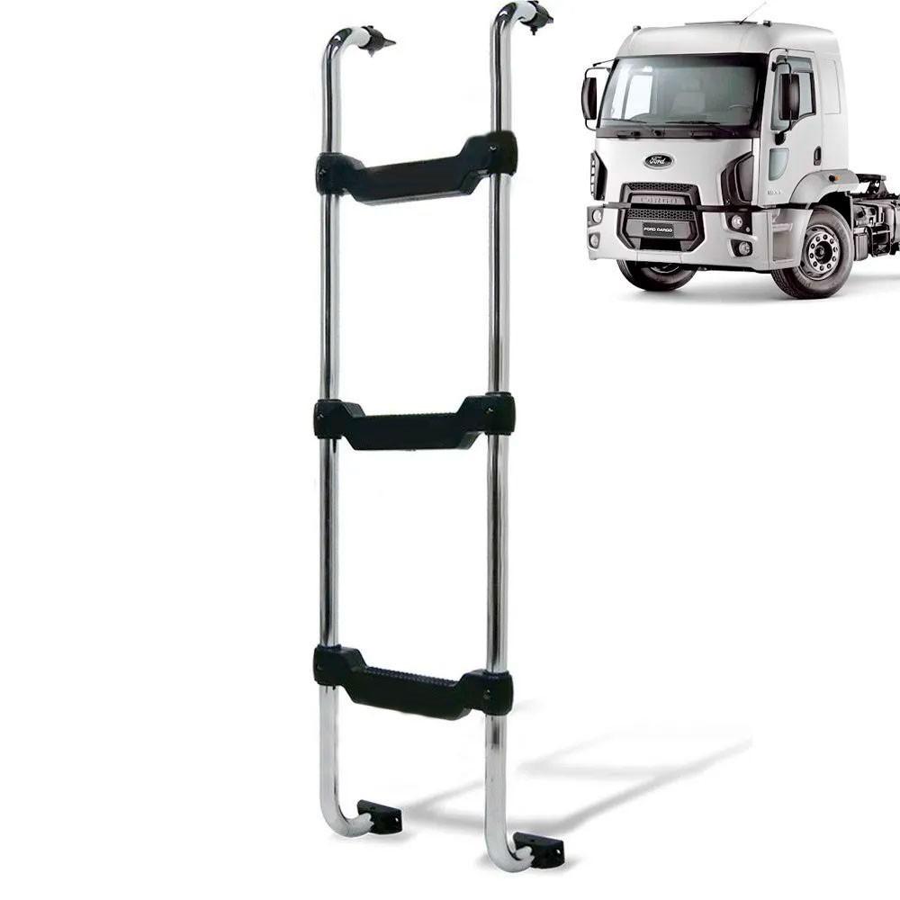 Escada Traseira para caminhão Ford Cargo novo 2012 cabine baixa Cromada