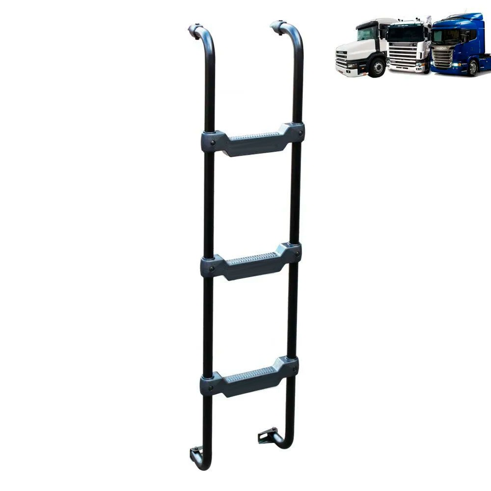 Escada Traseira para Compatível com o Caminhão Scania S4 Cabine G / R / T Preta