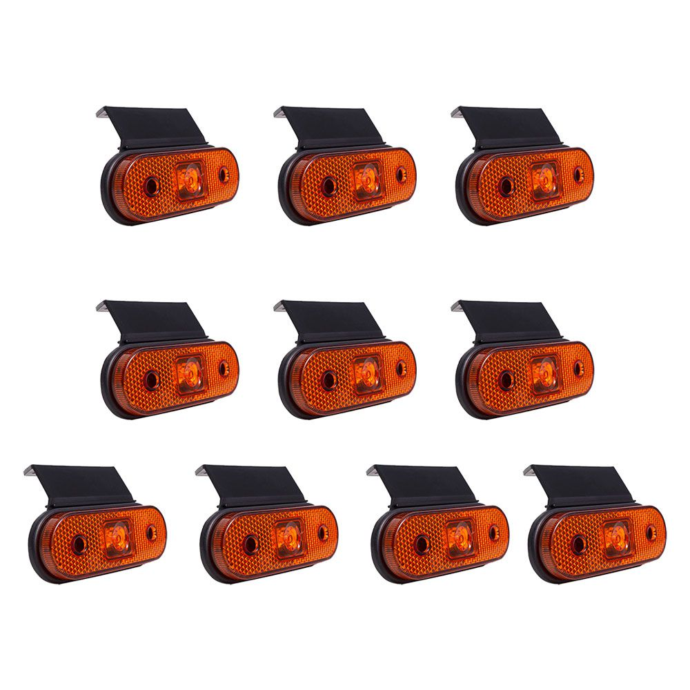Kit 10 unidades Lanterna Lateral Carreta Facchini Led com Suporte Bivolt