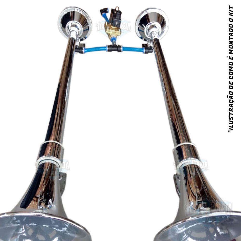 Kit 2 Buzinas Marítima 1 Metro para Caminhão 24V Cromada + Válvula solenóide de 1/2 polegada