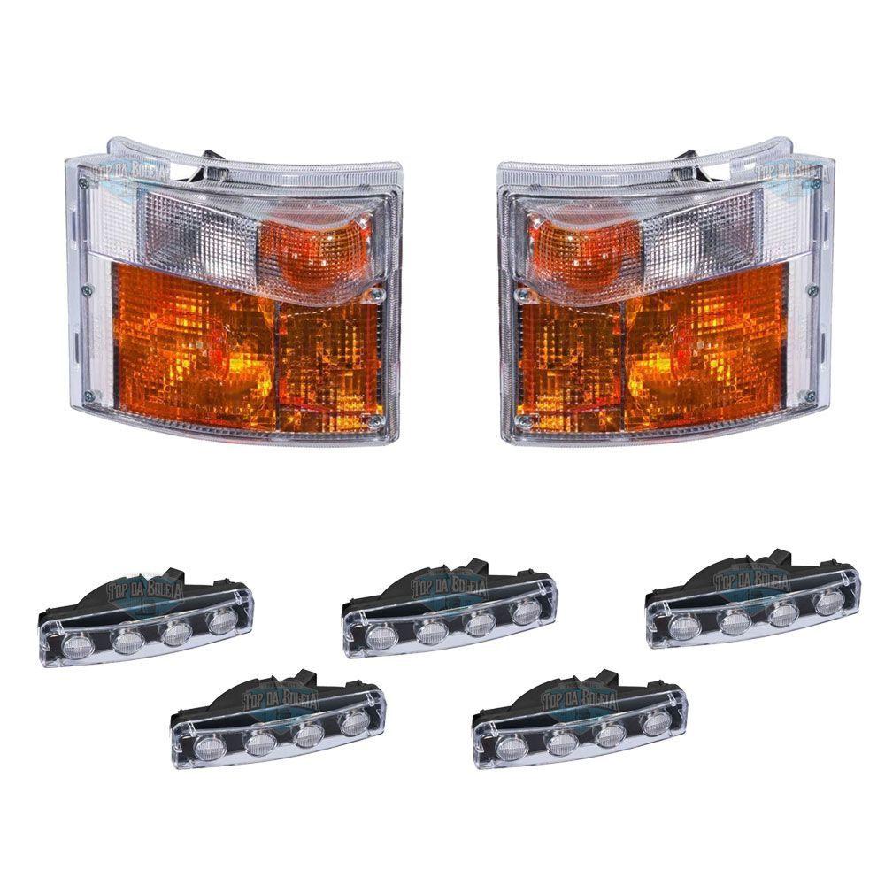Kit 2 Lanternas Pisca + 5 Sinaleira Led Tapa Sol - Compatível com Caminhão Scania Série S4
