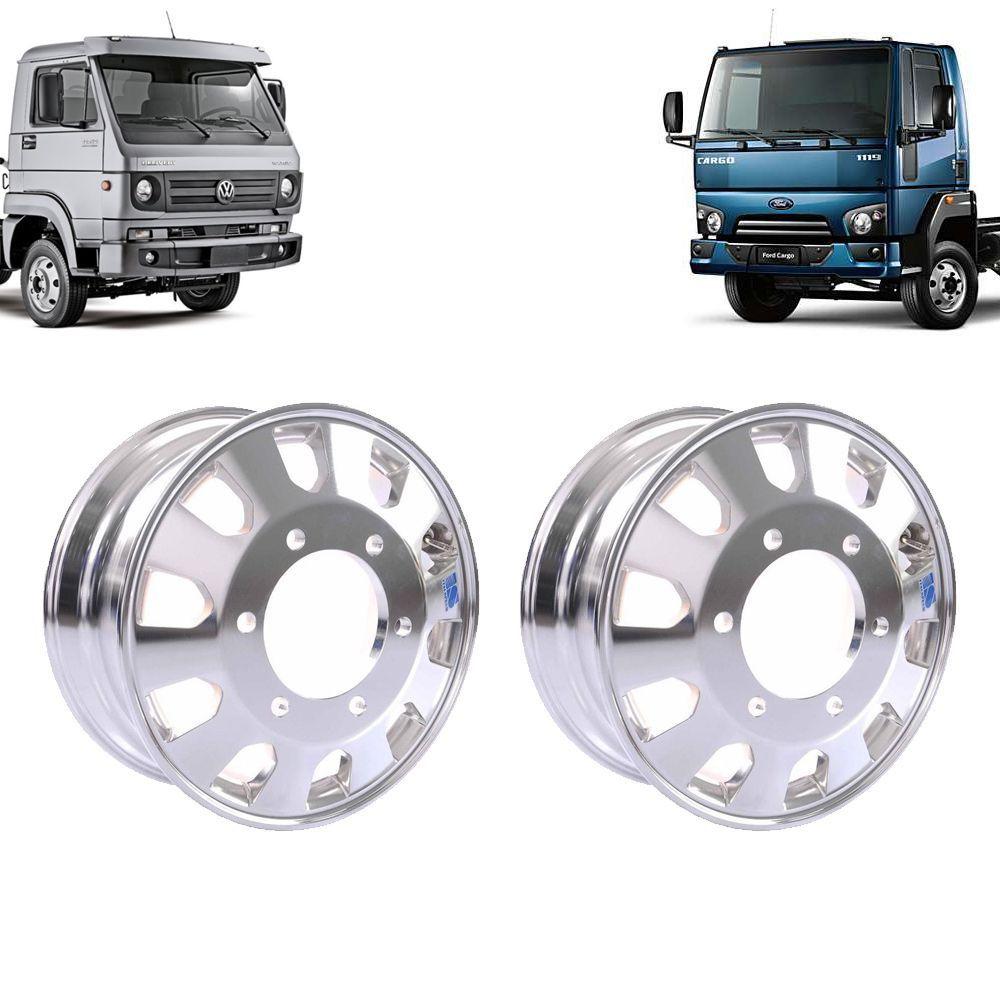 Kit 2 Rodas de Alumínio Caminhão Ford Cargo 1119 VW 10160
