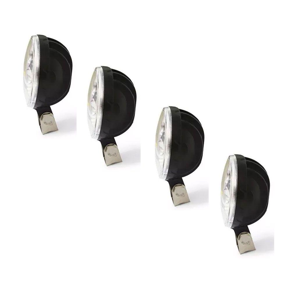 Kit 4 Faroletes Redondos de Led 12v 24v 4 Leds 8 cm para Caminhão