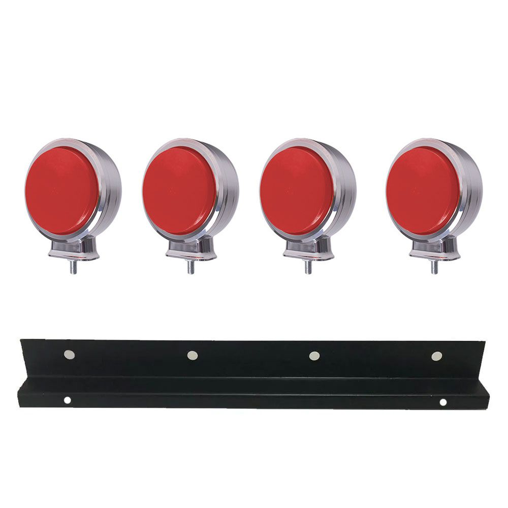Kit 4 Lanternas Foguinho Led cromada Vermelha 12v 24v