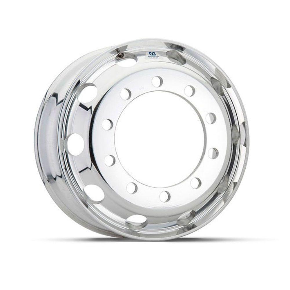 Kit 4 Rodas de Alumínio para Caminhão Alcoa Borda Larga Auto Brilho Aro 22,5 X 8,25 10 Furos