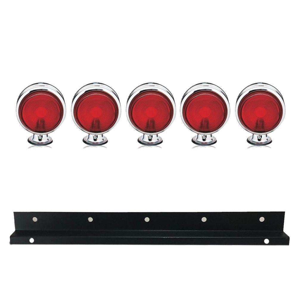 Kit 5 Lanternas Foguinho Vermelha Cromada com suporte