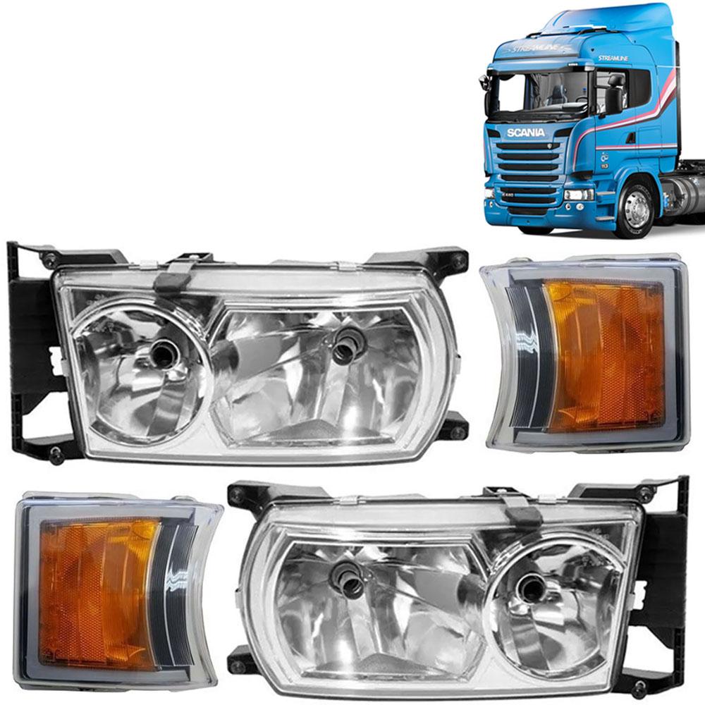 Kit Farol Principal + Par Pisca Dianteiro para Caminhão Scania Série 5 P / G / R