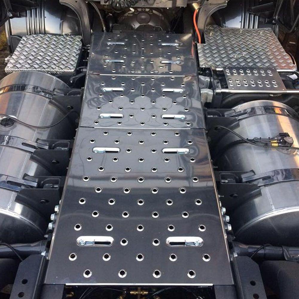 Kit 3 Unidades Plataforma Inox Chassí Compatível com Caminhão Scania S4 S5 NTG Completo