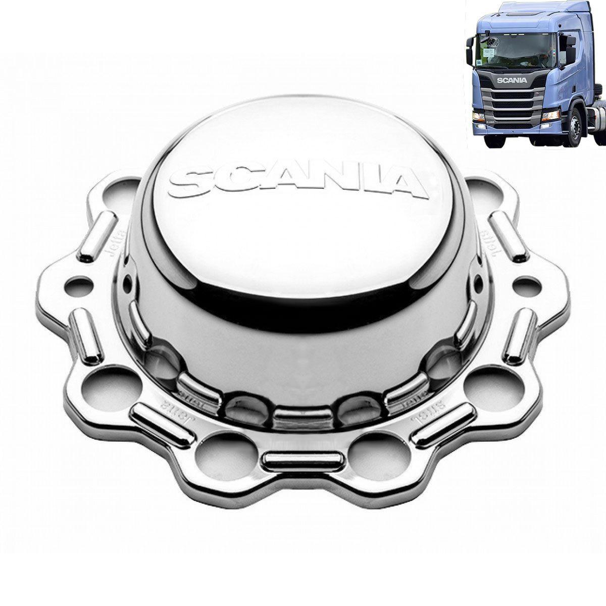 Kit sobre tampa dianteira tração e truck + 60 capas de porca compatível caminhão Scania NTG